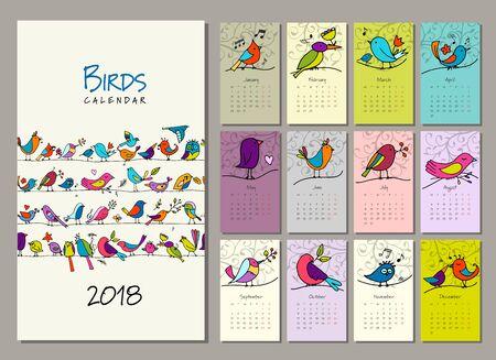 Birds family, calendar 2018 design