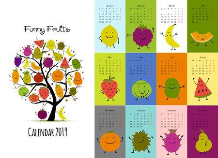 Funny fruits, calendar 2019 design Illusztráció