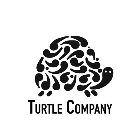 Turtle logo, black silhouette for your design. Vector illustration Vettoriali