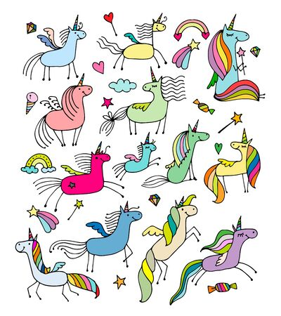 Magic unicorns collection, sketch for your design. Vector illustration Illusztráció