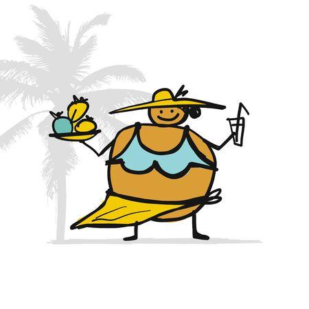 Mujer grande con comida y bebida en la playa, boceto de su diseño