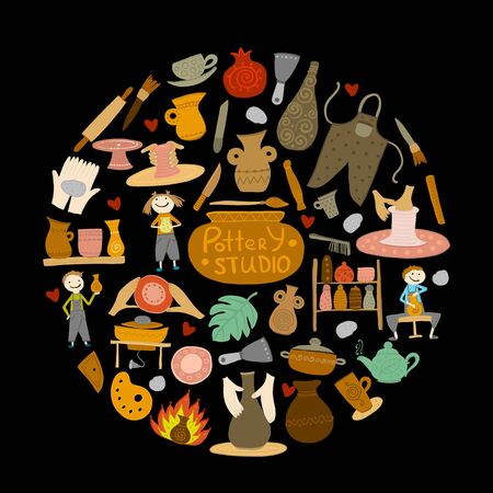 Pottery studio, background for your design Illustration