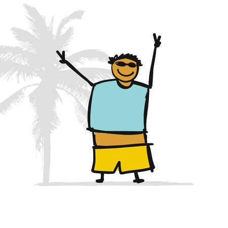 Fat man on the beach, sketch for your design. Vector illustration Illustration