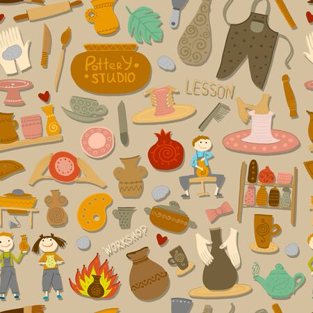 Pottery studio, seamless pattern for your design