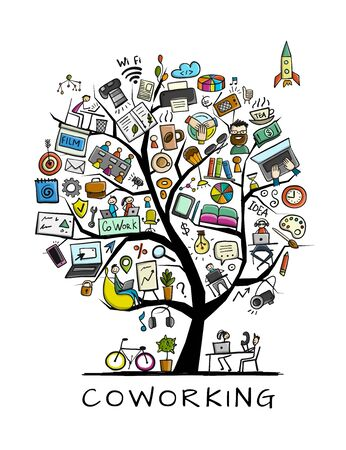 Coworking space, concept tree for your design