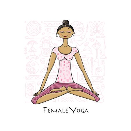 Young girl in lotus position. Padmasana women meditation. Sketch for your design