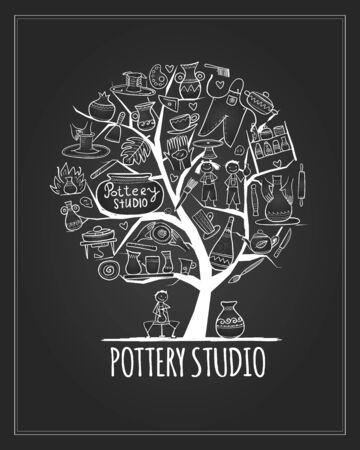 Pottery studio banner, art tree for your design