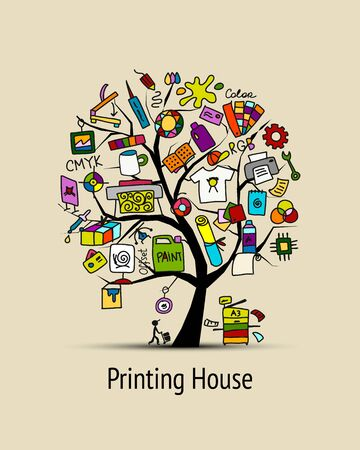 Printing house, sketch for your design