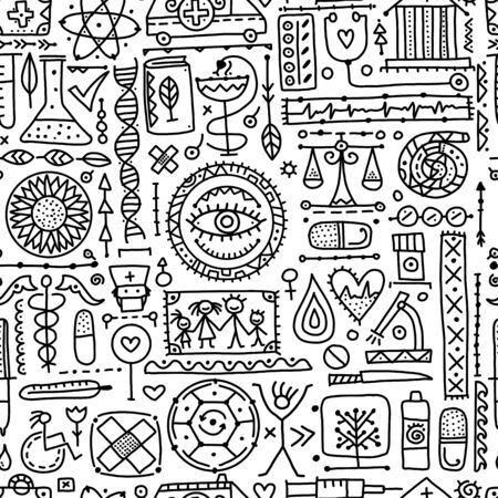Medical abstract background, seamless pattern for your design. Vector illustration Illustration