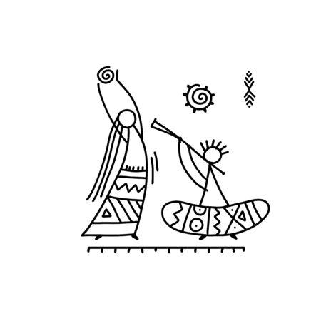 Danse ethnique folklorique pour votre conception. Illustration vectorielle