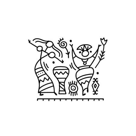 Danza etnica popolare per il tuo design. Illustrazione vettoriale Vettoriali