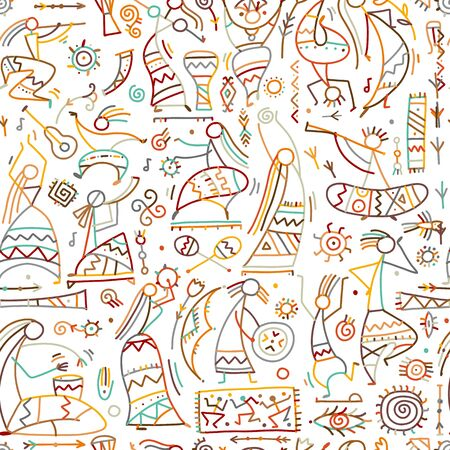 Danza étnica folclórica, patrones sin fisuras para su diseño. Ilustración vectorial Ilustración de vector