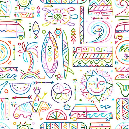 Surfing seamless pattern. Tribal elements for your design. Vector illustration