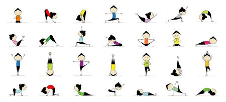 Woman practicing yoga, 25 poses for your design. Vector illustration