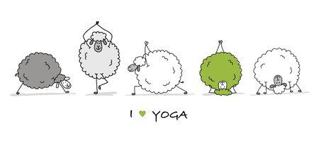 Funny sheep doing yoga, sketch for your design. Vector illustration Illustration