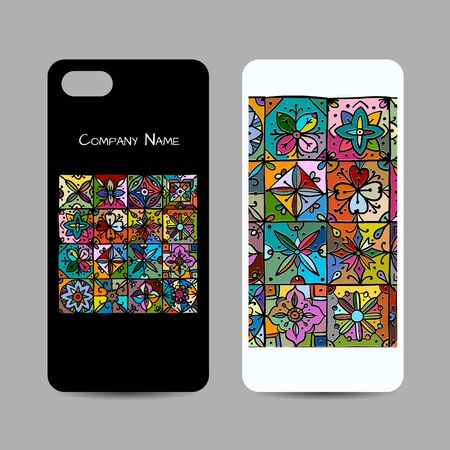 Mobile phone cover design, ethnic vintage ornament. Vector illustration