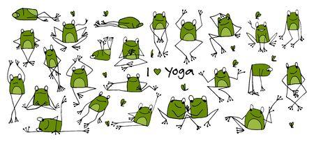 Grappige yogakikker, schets voor uw ontwerp