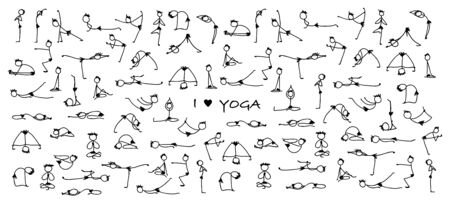 Yoga set, sketch for your design. Vector illustration