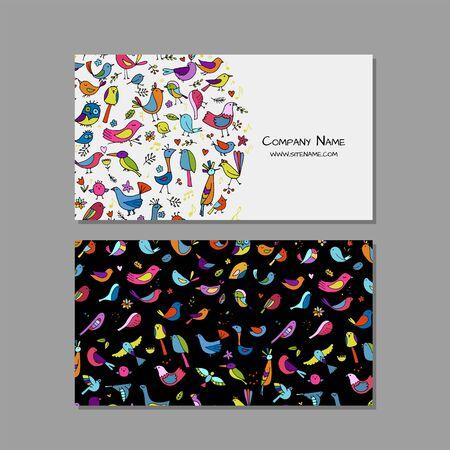 Business cards design, funny birds background. Vector illustration