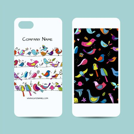 Mobile phone cover design, funny birds background. Vector illustration