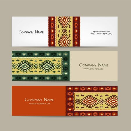 Banners design, folk ornament. Vector illustration Banque d'images - 128175147