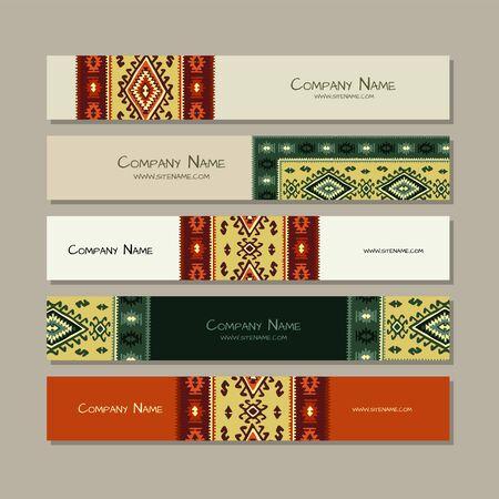 Banners design, folk ornament. Vector illustration Banque d'images - 128175148