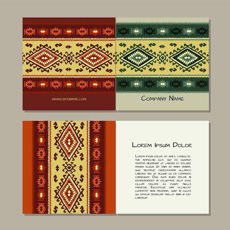 Business cards design, folk ornament. Vector illustration Banque d'images - 128175149