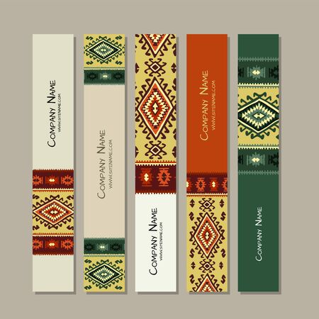 Banners design, folk ornament. Vector illustration Stock fotó - 128175153