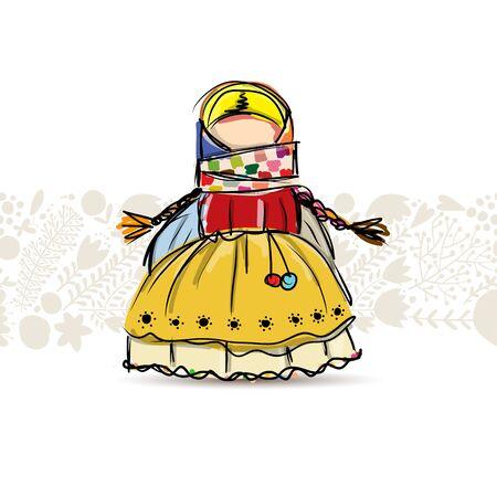 Mascota de muñeca popular hecha a mano, boceto de su diseño. Ilustración vectorial