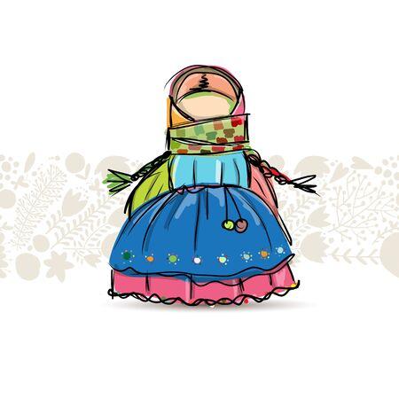 Handmade folk doll mascot, sketch for your design. Vector illustration Illustration