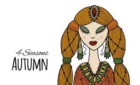 Female beauty, autumn style for your design