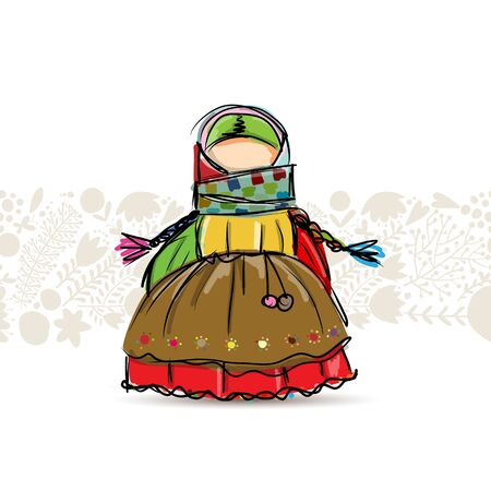 Handmade folk doll mascot, sketch for your design. Vector illustration Ilustrace