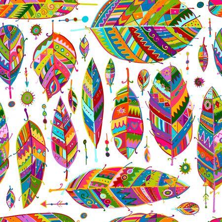Colección de plumas de arte, patrones sin fisuras para su diseño. Ilustración vectorial