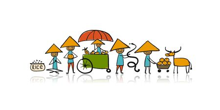 Asian lifestyle, people characters for your design