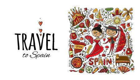 Travel to Spain. Greeting card for your design