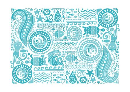 Polynesian style marine background, tribal ornament for your design. Vector illustration