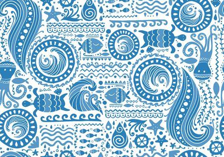 Fondo marino de estilo polinesio, patrón transparente tribal para su diseño. Ilustración vectorial
