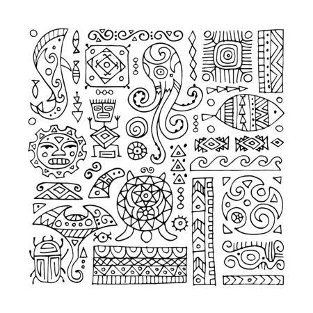 Adorno artesanal étnico para su diseño. Estilo polinesio Ilustración de vector
