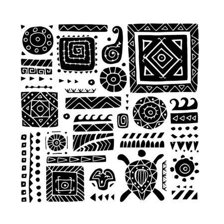Ethnic handmade ornament for your design. Polynesian style Illustration