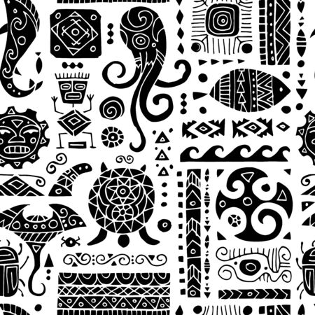 Ethnic handmade ornament. Seamless pattern for your design. Polynesian style. Vector illustration