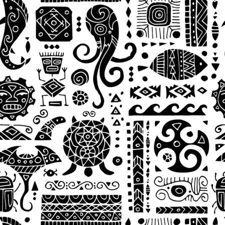 Ethnische handgemachte Verzierung. Nahtloses Muster für Ihr Design. Polynesischer Stil. Vektor-Illustration