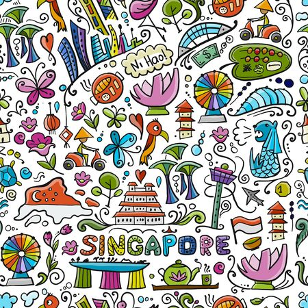 Travel to Singapore. Seamless pattern for your design