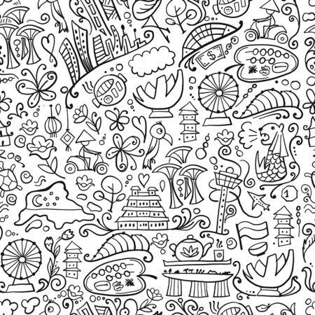 Reise nach Singapur. Nahtloses Muster für Ihr Design