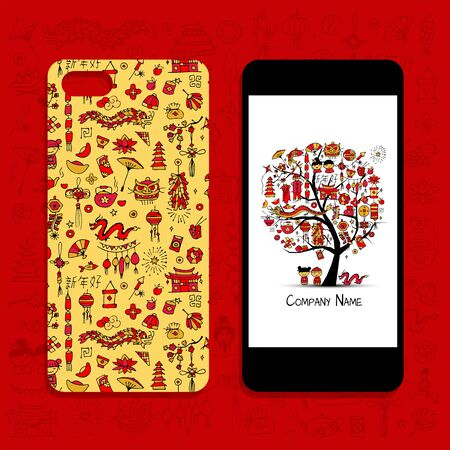 Mobile phone cover design, chinese style. Vector illustration