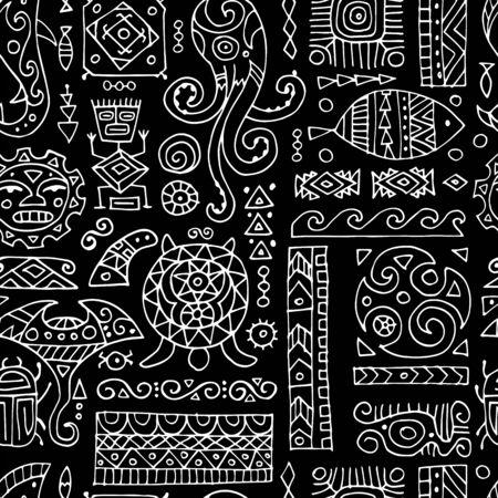 Ethnic handmade ornament. Seamless pattern for your design. Polynesian style. Vector illustration