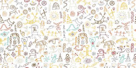 Fondo de pinturas rupestres, patrones sin fisuras para su diseño. Ilustración vectorial