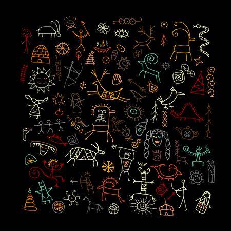 Fondo de pinturas rupestres, boceto de su diseño. Ilustración vectorial Ilustración de vector