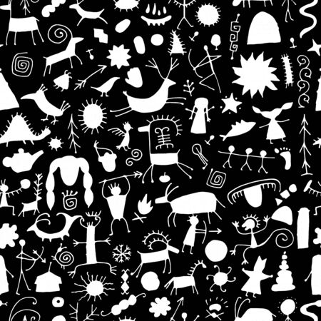 Rock paintings background, seamless pattern for your design. Vector illustration