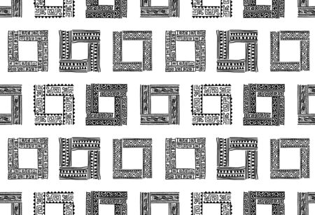 Abstract ethnic frames, seamless pattern for your design Banque d'images - 125937198