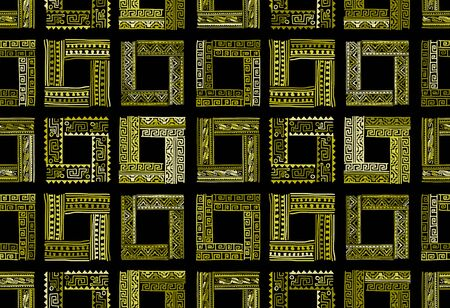 Abstract ethnic frames, seamless pattern for your design Иллюстрация